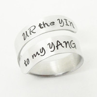 Yin yang ring you are the yin to my yang ring - U R the yin to my yang ring - commitment ring girlfriend ring - relationship ring