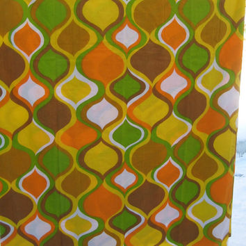 Vintage Bedding MOD Green Orange Yellow Brown QUEEN Size Flat Sheet Cannon Monticello Muslin Girl Boy Kids Bedding Clean Fabric UNUSED