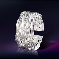 925 Sterling Silver Plated White Copper Stylish Cut-out Adjustable Ring