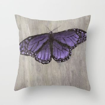 The Purple Butterfly Throw Pillow by Lindsay