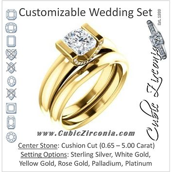 CZ Wedding Set, featuring The Tory engagement ring (Customizable Cathedral-style Bar-set Cushion Cut Ring with Prong Accents)