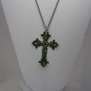 Green Cross Pendant, Green Crucifix Pendant, Cross Pendant, Cross Necklace, Hand Painted Metal Cross Pendant, Hand Painted Crucifix