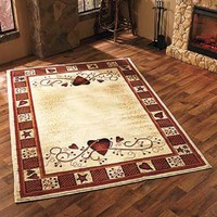 "Area Rug Hearts Berries Country Rustic Primitive Cabin Farm Burgundy 63"" x 90"""