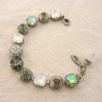 DIANELLA- Swarovski crystal bracelet- Lauren collection, 12mm mint green and white opal, square cut with flowers