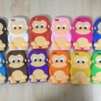 White Cute 3D Monkey Shaped Soft Protective Cover Silicone Jelly Case for iPhone 5C