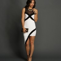Sale-white 2-tone Mesh Asymmetrical Dress