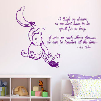 Winnie The Pooh Wall Decal Quote I Think We Dream Piglet Vinyl Stickers Home Bedroom Interior Design Boy Girl Kids Baby Nursery Decor KI20