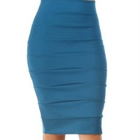 Peacock Teal Banded Pencil Skirt