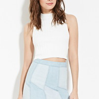 Paneled Denim Mini Skirt