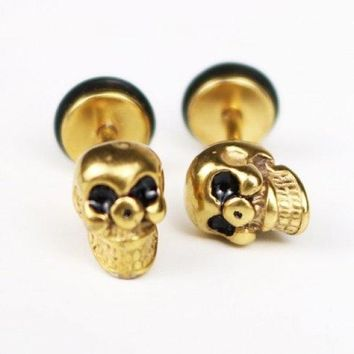 Pair of Vintage Skull Earrings For Men - Golden