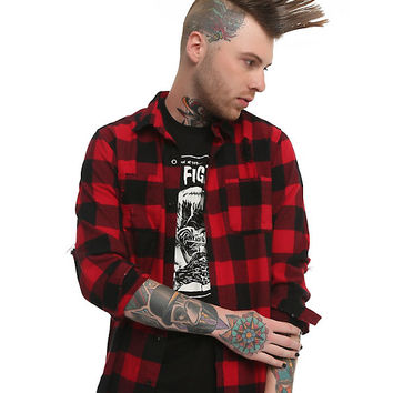 XXX RUDE Red & Black Destructed Buffalo Plaid Woven Button-Up