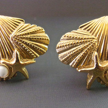 1928 Sea Shell MOP Earrings, Sea Motif, Gold Plated, Unsigned Vintage