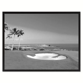 Coastal BW Golf Course Photo Canvas Print Pictures Frames Home Décor Wall Art Gifts