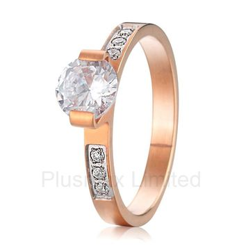 2016 China Supplier Buy Unique Collection 2016 new design rose gold color pure titanium wedding engagement rings for women