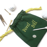 Father's day gift, Personalized golf bag, golf tee pouch, golf tee bag, golf drawstring bag, golfer gift, Fore golf pouch, personalized golf