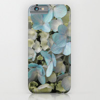 White Hydrangeas Art Print iPhone 6, 5, 4 and 3 Cases, Samsung Galaxy Cases, White Floral Art Print Phone Cover.