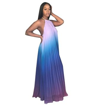 Sexy Women Backless Maxi Dress Chiffon Ombre Pleated Sleeveless Halter Boho Beach Tunic Dress