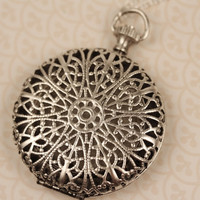 Silver Filigree Locket with Push Button, Long Necklace, Pocket Watch Style, Round Pendant, Ornate Floral Design, Large Jewelry