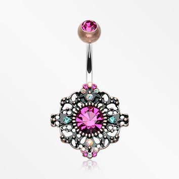 Vintage Boho Filigree Flower Belly Button Ring