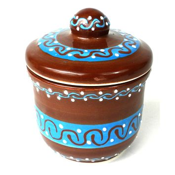 Sugar Bowl - Chocolate Mexican Pottery