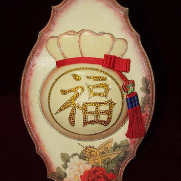 Talisman - Unusual Housewarming gift - Luxury gift - Oriental - Happiness baggie -  Unique gift made of ostrych eggshell