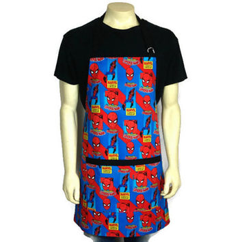 The Amazing Spiderman Apron for men , Comic Book Kitchen Decor , Adjustable with Pocket