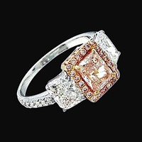 4 ct. pink radiant diamond ring 3-stone two tone gold