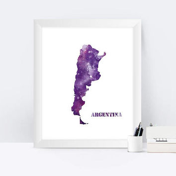 Argentina Map Print Argentina Map Argentina Poster Home Office Decor Argentina Watercolor Buenos Aires Digital Download