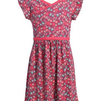 Girl's Tea Collection 'Lucia' Flutter Sleeve Cotton Dress,