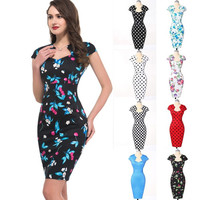 Grace Karin FLORAL+ POLKA DOT Vintage Retro 50s Swing Party Pinup Housewife Rockabilly Dress = 1956833604