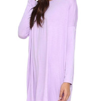 Purple Long Sleeve Elastic & Oversized Shirt Dress
