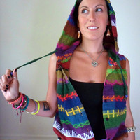 Multi-Color Ethnic Sleeveless Hooded Top