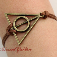 Antique bronze harry potter bracelet,deathly hallow,harry potter bracelet,brown bracelet,