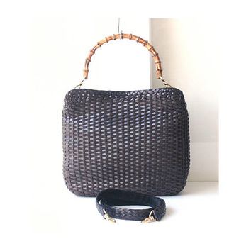 Gucci Bag Brown Leather Woven Bamboo vintage authentic tote shoulder handbag purse
