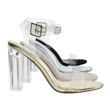 Kalif By Delicious, Women's Sandal Perspex Clear Block Heel, See Through Lucite Straps