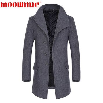 Woolen Overcoat for Men Fur Collar Casual Trench Coats Business High Quality Wool Overcoat Fashion Medium Length Brand MOOWNUC