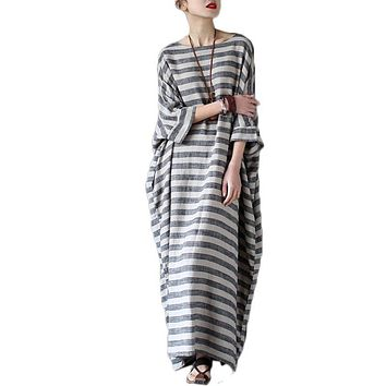 Vestidos 2017 Fashion Summer Spring Dress Vintage Cotton Linen Striped Dresses Women Plus Size Loose Casual Long Maxi Dress Robe