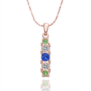 Five Crystals Inlaid Rose Gold Plated Necklace