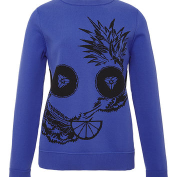 Blue Fruit Intarsia Crewneck Sweater