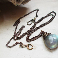 Sparkling grey labradorite briolette necklace, AAA quality wire wrapped stone drop, yellow green flash, fine oxidized brass chain, jewelry