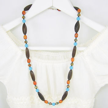 Long Wood Necklace, Wood Bead Necklace, Brown Turquoise Rust Long Beaded Necklace