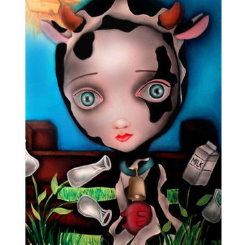 Lowbrow Cow Girl Art Print by Artist Abril Andrade