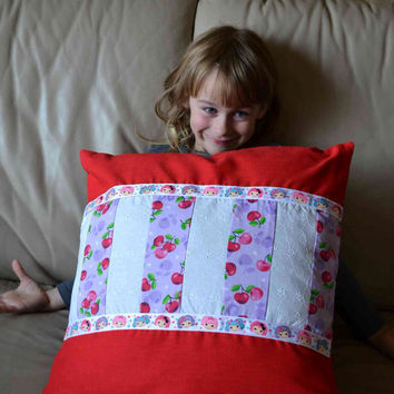 Pillow Cover 18 inches Lalaloopsy doll ribbon patchwork cherries purple, pink, red linen, white eyelet upcycled girls home decor Spring