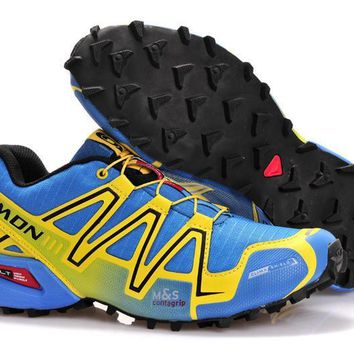Salomon Men's Spikecross 3 CS Trail Running Shoe - Light blue-Yellow