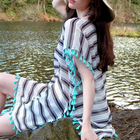 Striped Tassel Swimsuit Cover-up