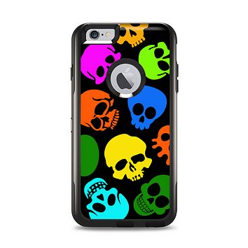 The Vivid Vector Neon Skulls Apple iPhone 6 Plus Otterbox Commuter Case Skin Set