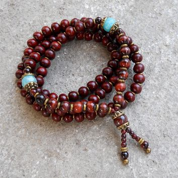 Prosperity and Compassion, Rosewood and Amazonite 108 Bead Convertible Mala Necklace