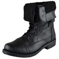 Womens Mid Calf Boots Fold Over Cuff Fur Lined Lace Up Combat Shoes Black