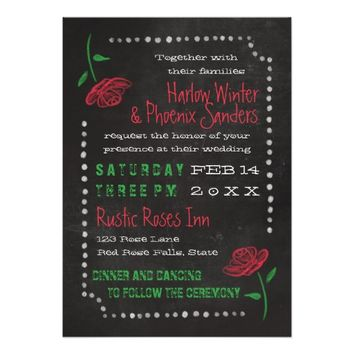 Red Roses Typography Chalkboard Wedding 5x7 Paper Invitation Card
