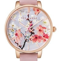 Ted Baker London Kate Round Leather Strap Watch, 38mm | Nordstrom
